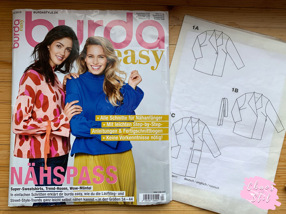 Burda Easy 04/19 + technischer Schnitt Oversized Mantel